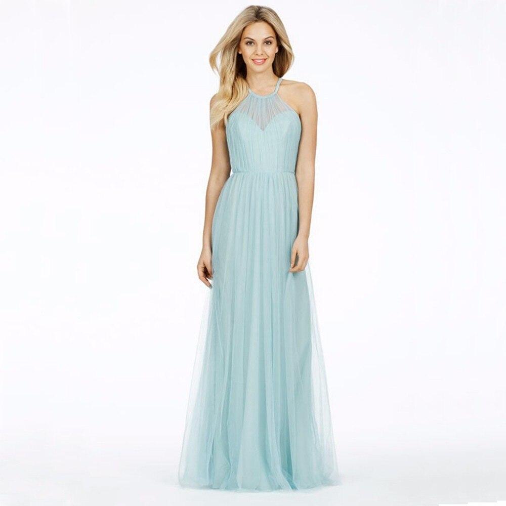 Cheap Chiffon Long   Bridesmaid     Dresses   2016 Vestido Madrinha Pleat Spaghetti Formal   Dress   Floor Length
