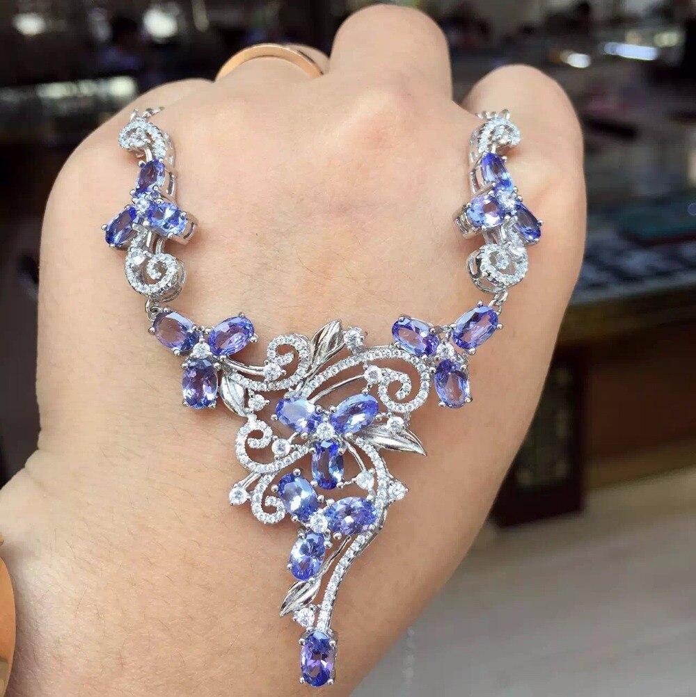 Naturel tanzanite collier, collier de luxe, cocktail bijoux, femme charme mature, 925 argent
