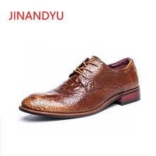 Mens Natrual Leather Business Dress Shoes Men Brand Genuine Wedding Man Crocodile Print Office Elevator