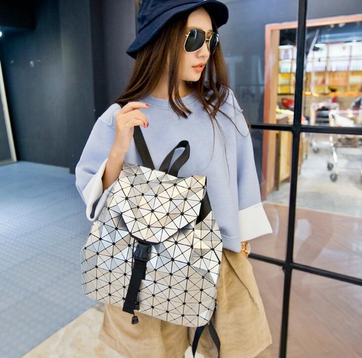 Japan Bao 2018 New Fashion Women Geometric  Backpack Shoulder Student's school bag Hologram backpack Luminous bag