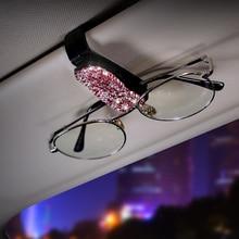 1 parasol para coche de vehículo, soporte para gafas de sol, Clip de ABS, tarjetero para tarjetas de crédito, bolsa de almacenamiento de identificación con diamante hecho a mano