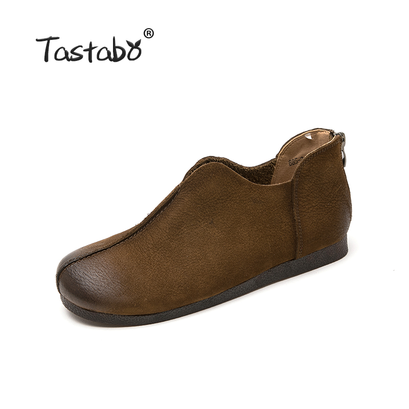 Tastabo Leather women's shoes flat Woman Shoe Handmade Genuine Leather Comfortable Shoes for Women Casual wild Zipper design-in Women's Flats from Shoes    2