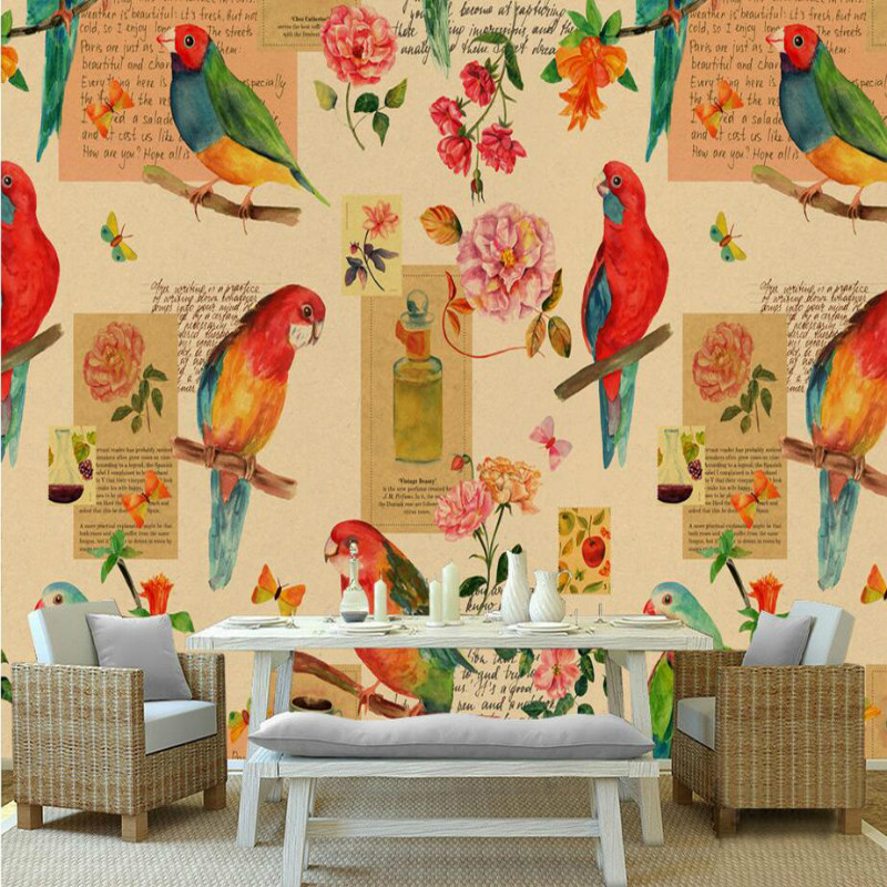 Home Improvement Decorative Painting Wallpaper for walls Living Room 3d Non-woven silk Wallpapers 3d Wall Paper retro flowers