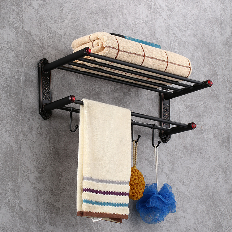 Retro Bath Towel Rack Brass Brushed Red Crystal Bathroom Towel Holder Double Towel Shelf with Hooks Bathroom Accessories nail free foldable antique brass bath towel rack active bathroom towel holder double towel shelf with hooks bathroom accessories