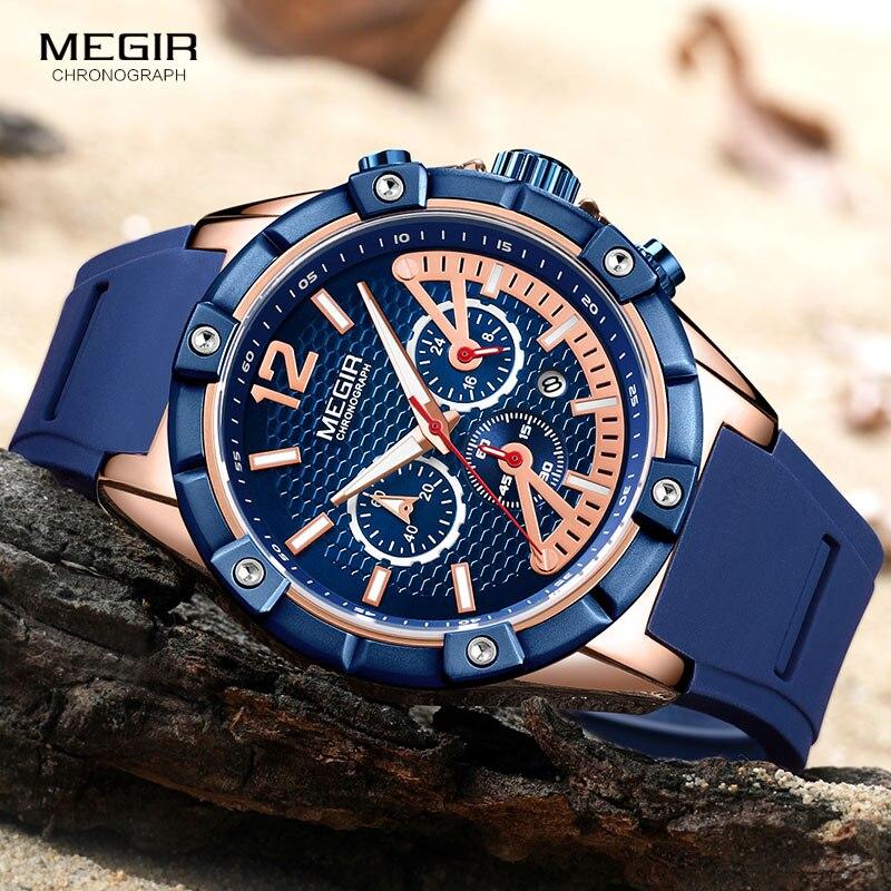 MEGIR Men's Sports Chronograph Quartz Wrist Watches Army Silicone Waterproof Stopwatch Relojios Masculinos Man ClockMN2083-2N0