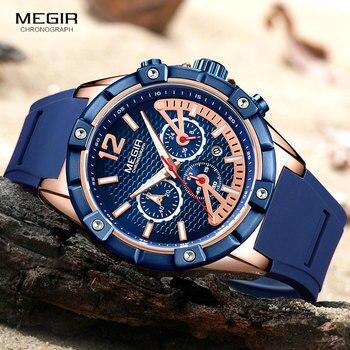 c7cf63b469bf Relojes de pulsera de cuarzo cronógrafo deportivo MEGIR para hombre reloj  cronógrafo militar de silicona resistente al agua relojes Masculinos para  hombre ...