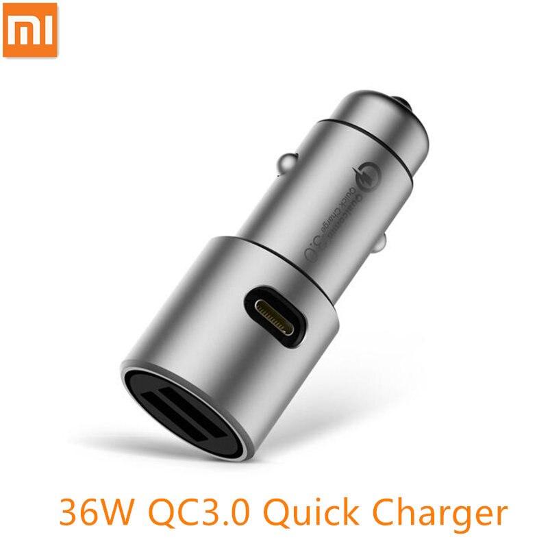 D'origine Xiaomi Chargeur De Voiture QC3.0 X2 Full Metal Double USB Contrôle intelligent Charge Rapide 5 V = 3A * 2 ou 9 V = 2A * 2 ou 12 V = 1.5A * 2 MAX 36 W