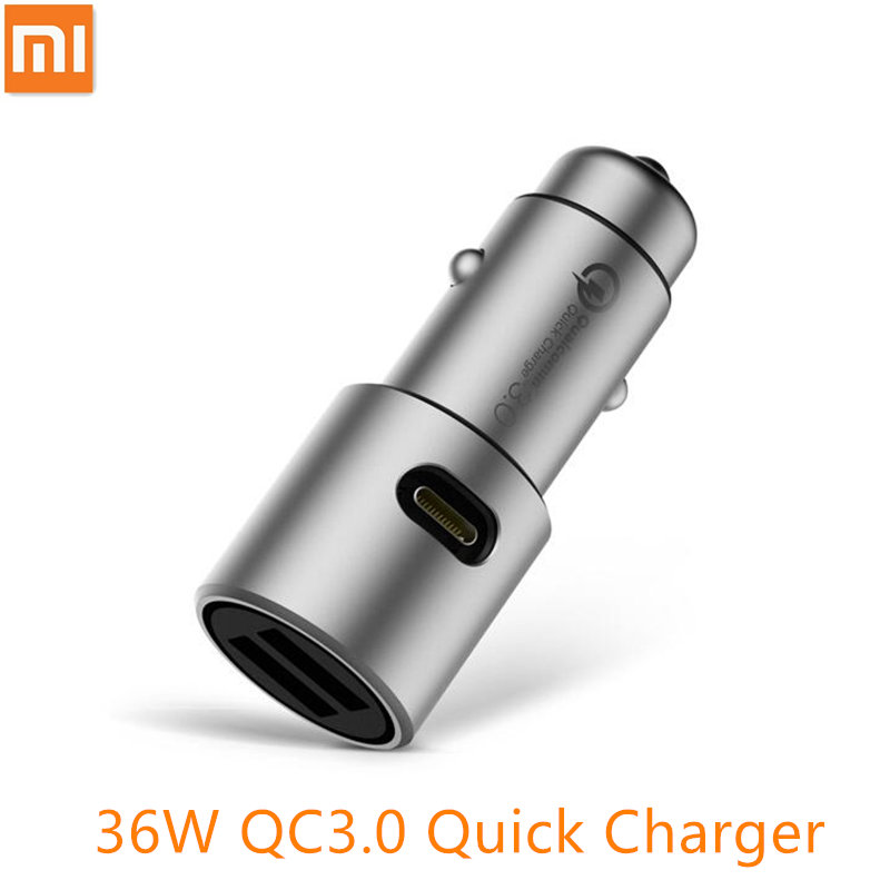 Original Xiaomi Car Charger QC3.0 X2 Full Metal Dual USB Smart Control Quick Charge 5V=3A*2 or 9V=2A*2 or 12V=1.5A*2 MAX 36W