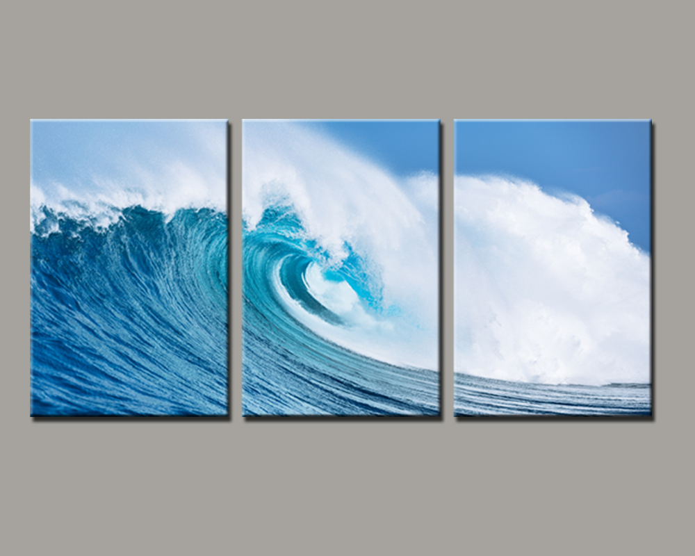 3 panels painted ocean waves oil painting on canvas mural for Canvas mural painting