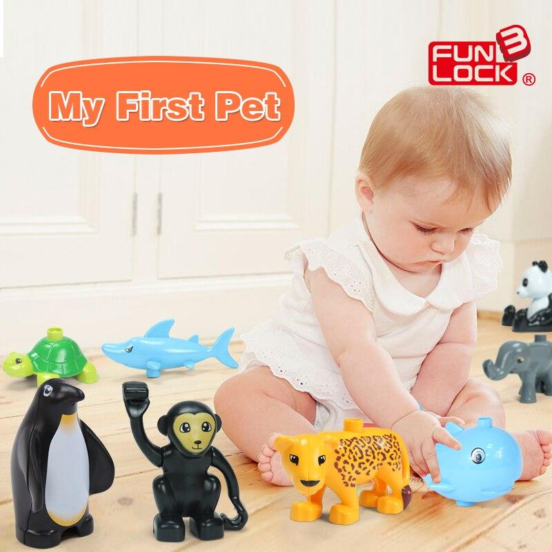 FUNLOCK Duplo Action Figure Animal font b Toys b font Blocks Shark Whale Bunny Elephant Cat