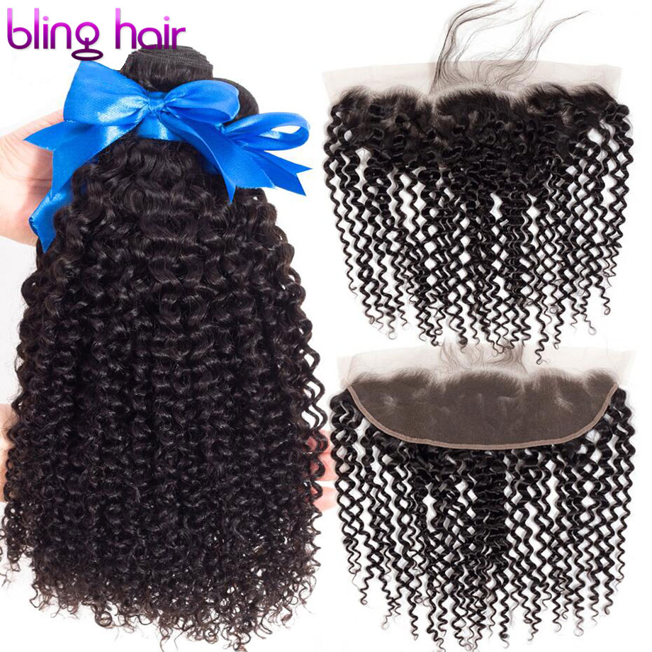 Bling Hair Kinky Curly Bundles With Closure 13 4 Lace Frontal 100 Human Hair 3 Bundles
