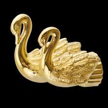 Robe Hooks Double Metal Gold Towel Hooks Bath Shelf Closet Hat Hanger Swan Bathroom Accessories Wall Mount Towel Holder MB-0962A