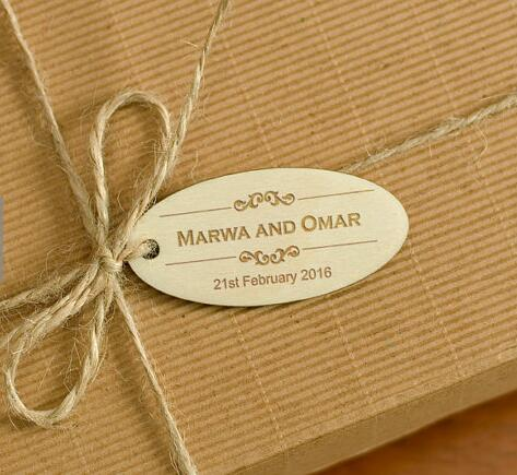 Custom Name Date Oval Wooden Wedding Thank You Gift Favor Hang Tags Engagement Bridal Shower Party