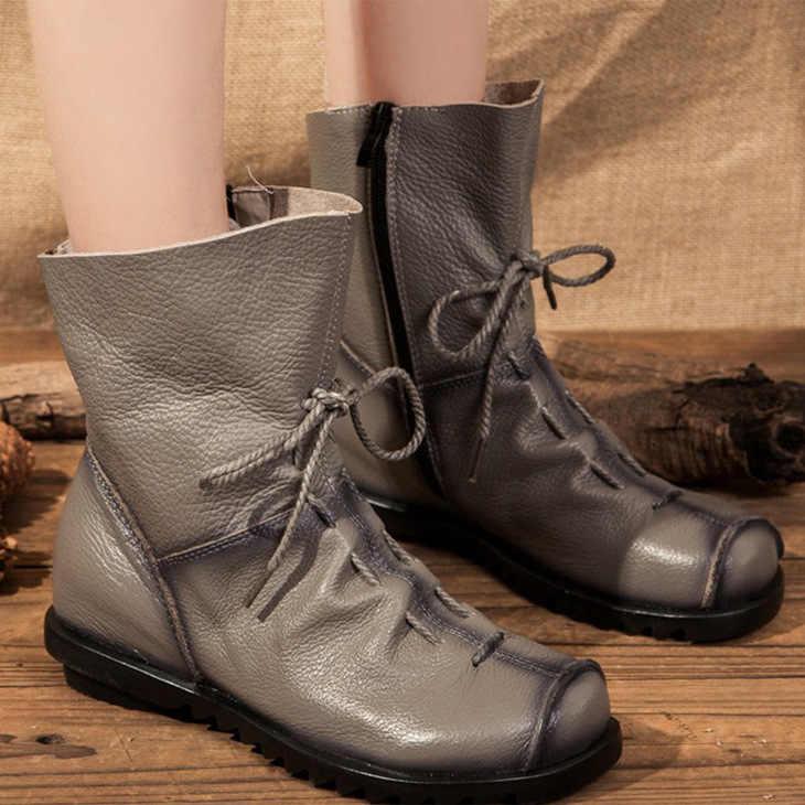Kadın yarım çizmeler Vintage Hakiki deri ayakkabı Kadın Artı Boyutu Platformu Düz kış botu Sıcak Kadın Ayakkabı C145