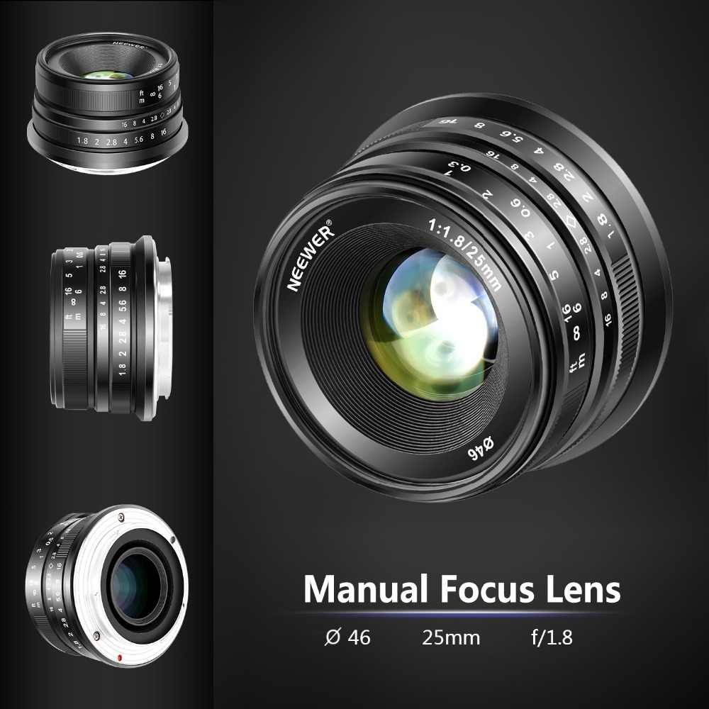 Neewer 25mm f/1 8 Manual Focus Prime Fixed Lens for Fujifilm APS-C Digital  Mirrorless Cameras XPro2 XE3 XH2 X100F X100T X100S
