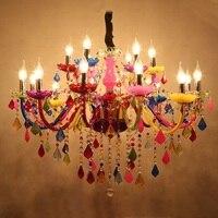 European Colour LED Crystal Chandelier Princess Room Lustre Chandelier Lighting Girls Bedroom 110V 220V