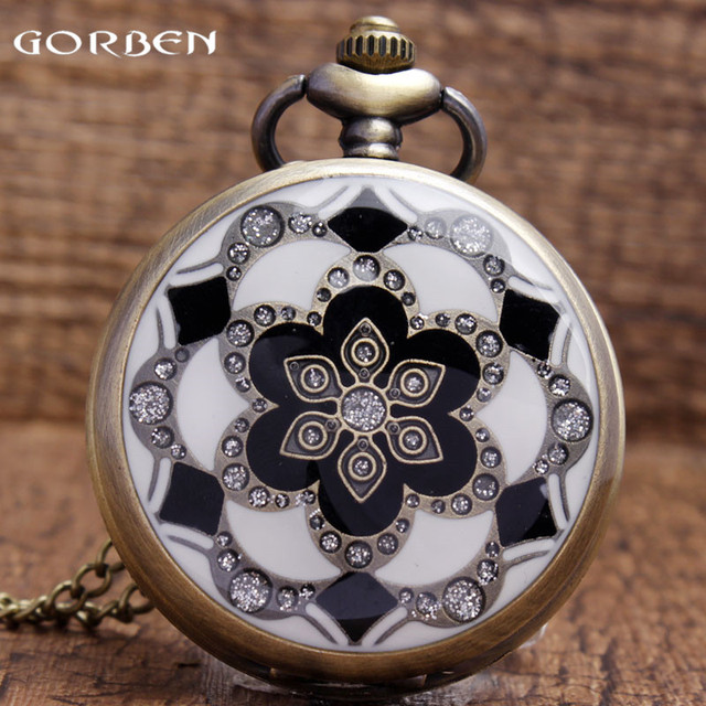 White Jade Crystal Quartz Big Pocket Watch Necklace Pendant Chain Mens Gift P51