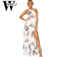 WYHHCJ 2017 Side Split Off Shoulder Summer Dress Backless Printing Maxi Dress Sleeveless Women Beach Dress