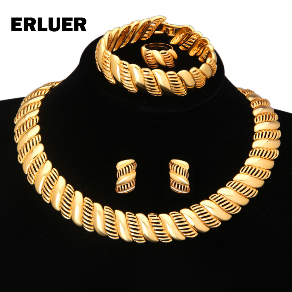 Jewelry Sets Dubai Gold Color African Beads Luxury Wedding Bridal Statement  Chokers Necklace Earrings Set For Women Jewellery