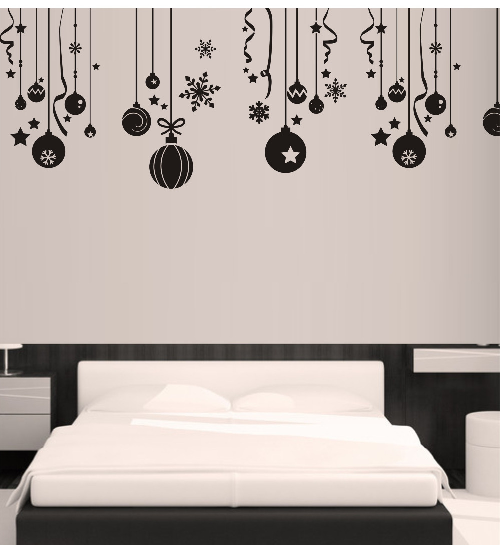 Free shipping christmas ball wall stickers snowflake bells hanging free shipping christmas ball wall stickers snowflake bells hanging chain wall decals glass sticker home garden window sticker in underwear from mother amipublicfo Choice Image