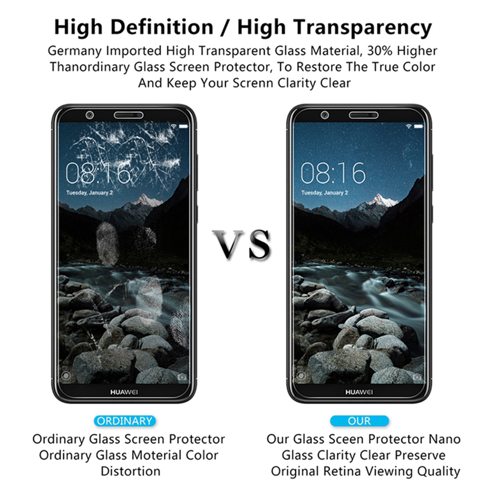 tempered glass screen protector for huawei honor 8x 9 10 y5 y6 y7 prime y9 2018(4)