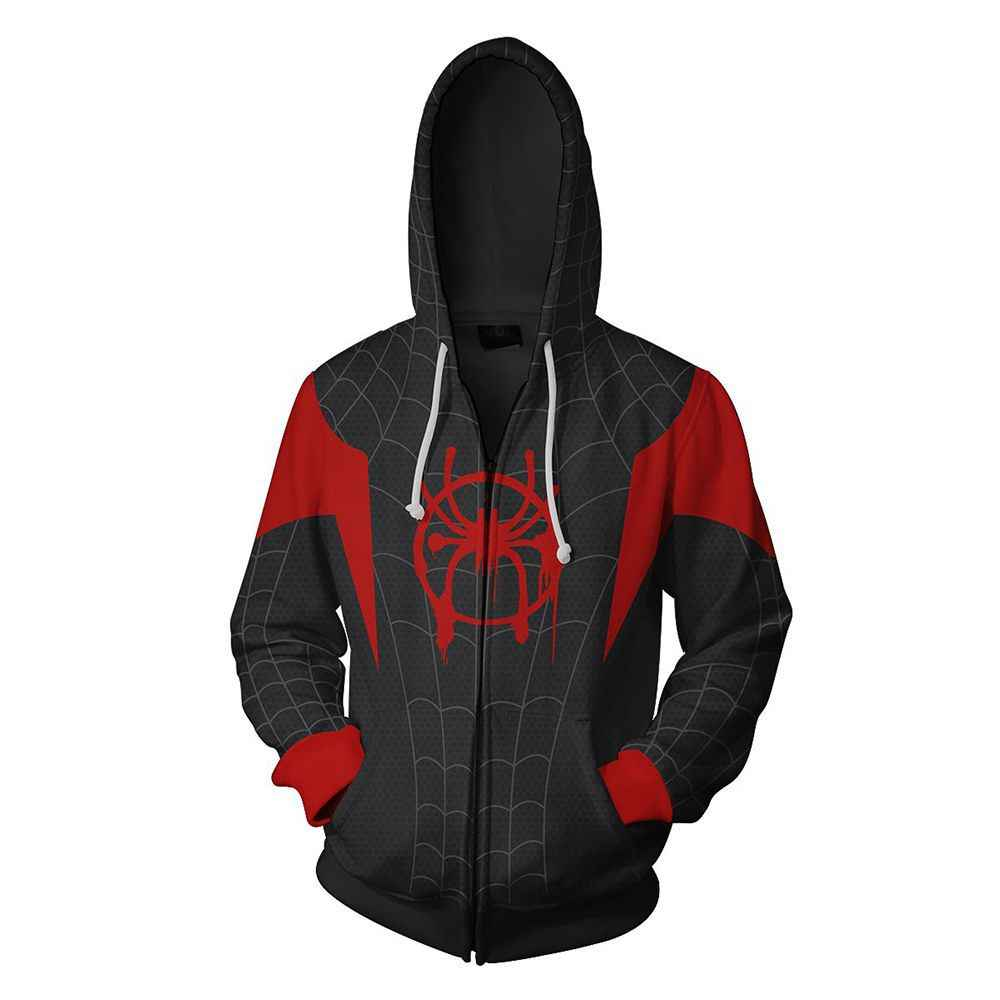 2018 new Autumn Winter 3D print spider-man Sweatshirts Hoodies Fashion Cosplay Zipper hooded  clothing