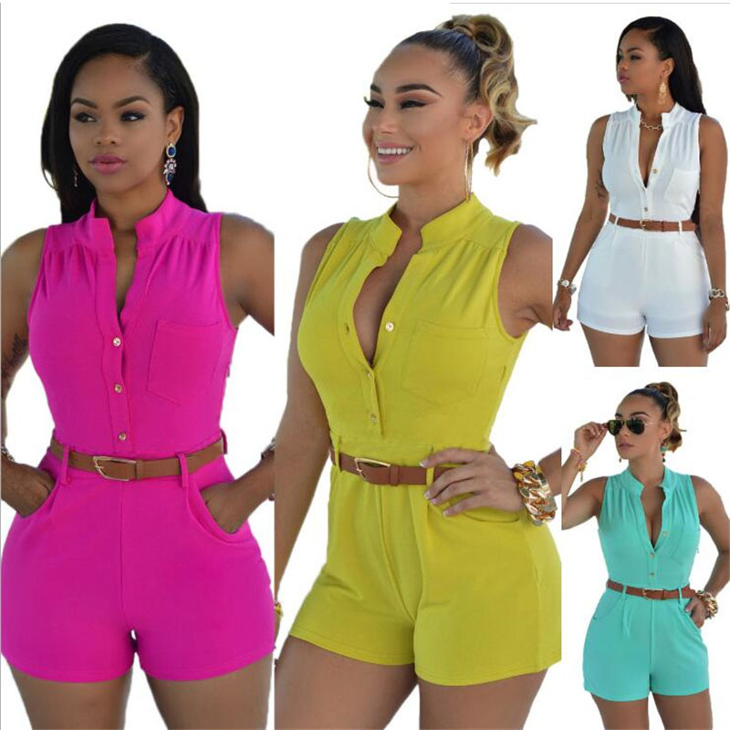 Rompers Womens Jumpsuits Sexy Deep V Neck Sleeveless Playsuits Casual High Waist Solid Overalls with Belt LB