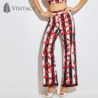 Vintacy Red Black Striped Pants Ladies Loose Zipper High Waist Wide Leg Print Trousers Women Fashion