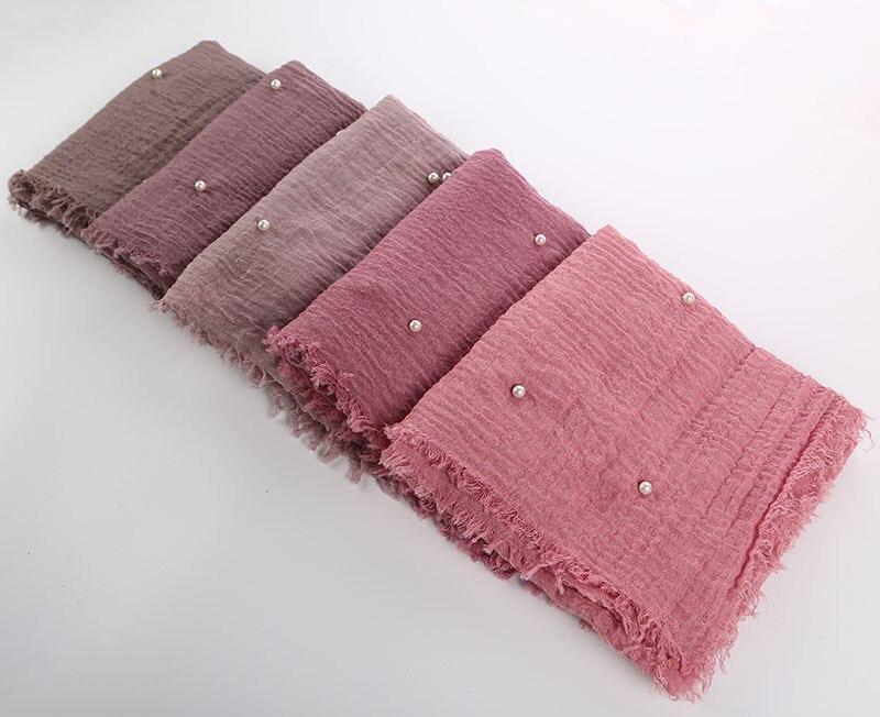 Linen Crinkle Monochrome Women Solid Color High Quality Cotton Yarn Pearl Accessories Girl Hijab Scarf Muslim Headscarf Turbante