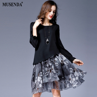 MUSENDA Plus Size Women Chiffon Print Draped Long Flare Sleeve Dress 2017 Autumn Female Sweet Party