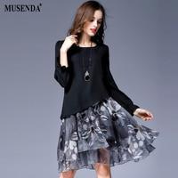 MUSENDA Plus Size Women Chiffon Print Draped Long Flare Sleeve Dress 2017 Autumn Female Sweet Party