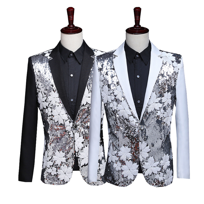 Mode Kleding 2019 Casual Sequin Jas Blazer Mannen Glitter Slim Fit Jurk Zwart Blazers Kostuums Podium Kostuums Voor Zangers Mens