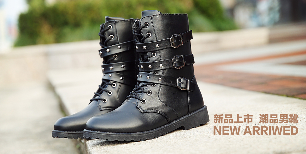 2018 New boots winter mens Martin boots high tube casual boots plus velvet long boots fashion horse boots stage boots 832-1