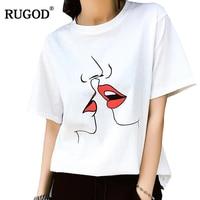 RUGOD 2018 Summer Sweet Red Kiss Print T Shirt Women White O Neck Short Sleeve Cotton