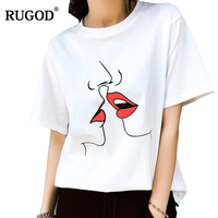 RUGOD 2018 Summer Sweet Red Kiss Print T Shirt Women White O Neck Short Sleeve Cotton