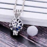 Modello circolare Pendenti con gemme e perle Gabbia di Perle Della Collana del Locket Vintage Essenziale di Aromaterapia Diffusore di Olio Catena Locket Per La Ragazza di Fascino