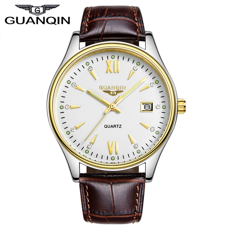 ФОТО Luxury Brand GUANQIN Men's Quartz Watch Black Brown Genuine Leather Strap Casual Watch With Calendar for men relogio masculino