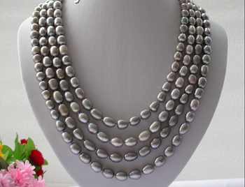 """FREE shipping> >>>SALE classic 100"""" 12mm luster gray baroque freshwater pearls necklace n245"""