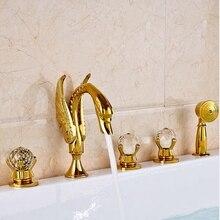 Широкое Тщеславия Золотой Полированной Ванная Комната Водопад Ванна Раковина Кран На Бортике