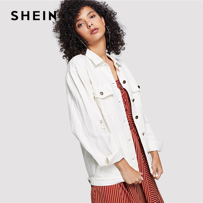 bad7ec6887 SHEIN White Wash Distressed Denim Jacket Casual Ripped Button Pocket Coat Women  Plain Single Button Autumn Jackets-in Basic Jackets from Women's Clothing  ...