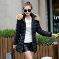 2016 Winter New Fashion Slim Medium Long Size Hooded Fur Collar Long Sleeve Keep Warm Thicken Solid Color Women Down Coat