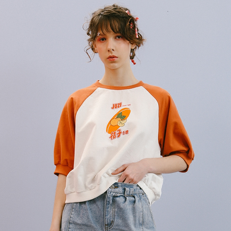 Cute Printed Orange Stitching White Women Tee Shirts Top Summer New Short Sleeve Ladies T Shirt Fashion Loose Female T Shirt  by Bebobsons