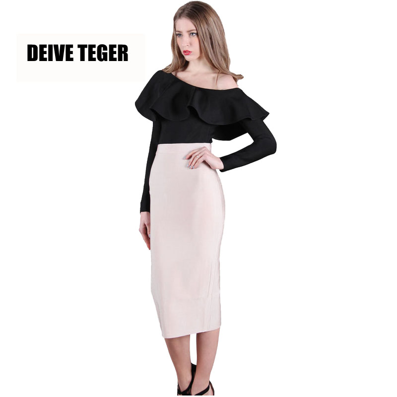 DEIVE TEGER 75cm Length 2017 Spring bandage pencil skirts women's High Waist solid nude Skirts saias TS999