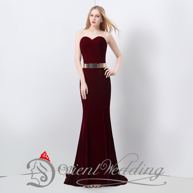 12f43c6072 In Stock Sweetheart Mermaid Dark Red Sweep Train Prom Dresses Gold  Waistband Evening Gowns Lace-up Party Dresses Velvet