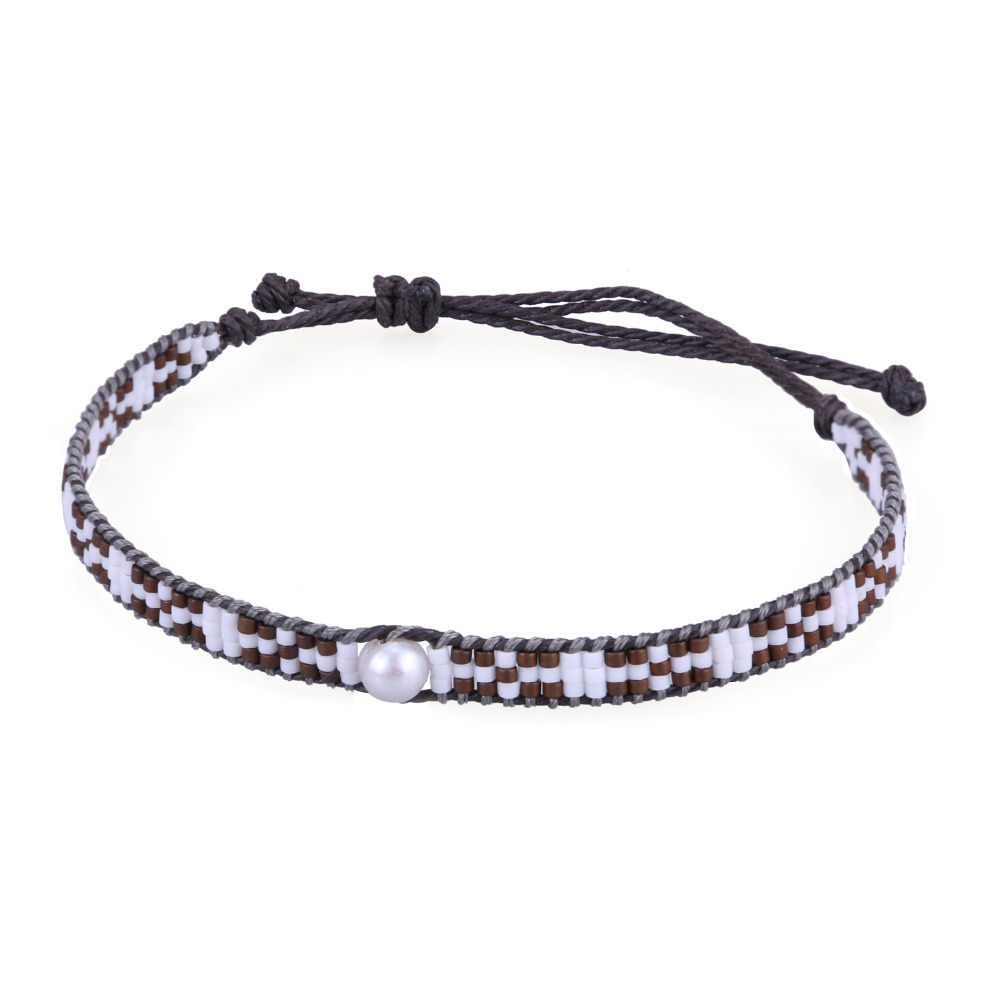 C.QUAN CHI Bracelets Jewelry Ethnic Crystal Seed Beads Friendship Bracelets & Bangles Charms Adjustable Pearl Beaded Bracelets