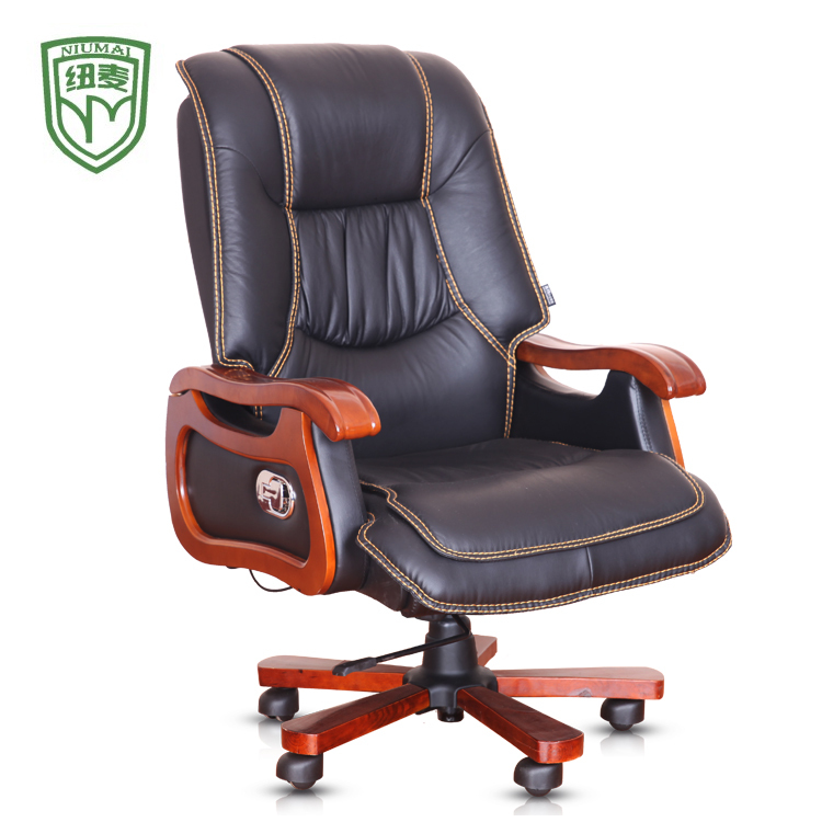 Niumai boss office chair leather first layer of real wood