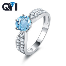 QYI Genuine 925 Sterling Silver Natural Sky Blue Topaz Engagement Ring Women Wedding Colored Stones Jewelry