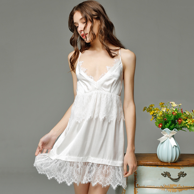 Cascading Style Lace Women Summer   Nightgowns     Sleepshirts   Overlapping Spaghetti Strap Slip Dress Lady Nightwear Home Lounge Wear