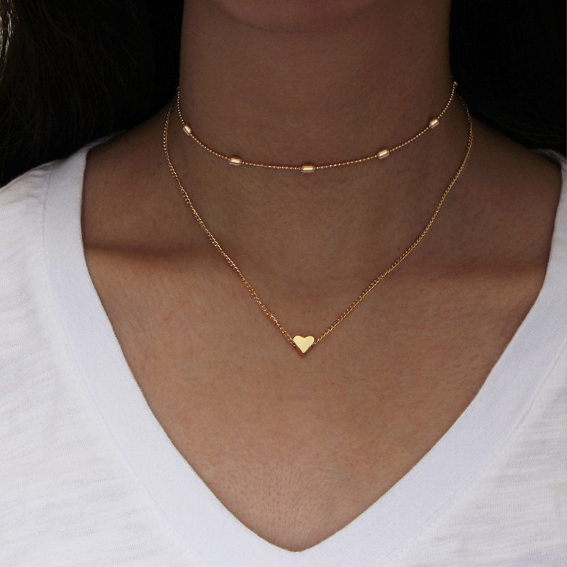 1PC New Fashion Simple Women Pendant Necklace Double layers Heart love Street Shoot Delicate Choker