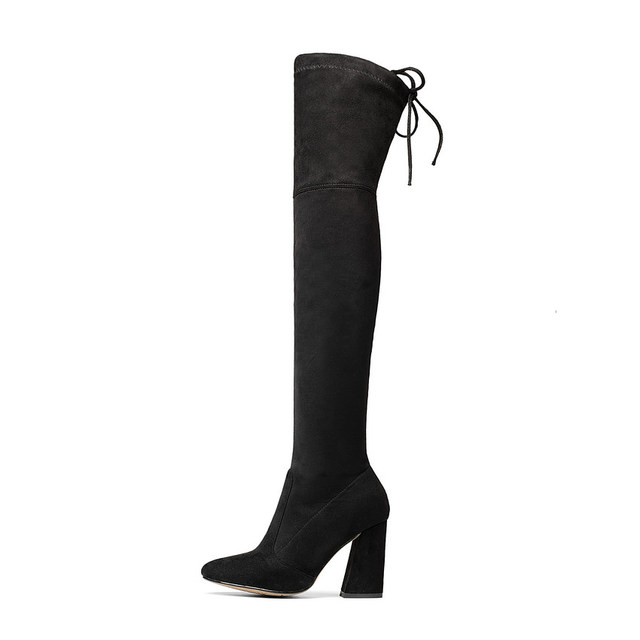 Flock Leather Over The Knee Boots Lace Up Sexy High Heels Autumn Winter Women Shoes 3